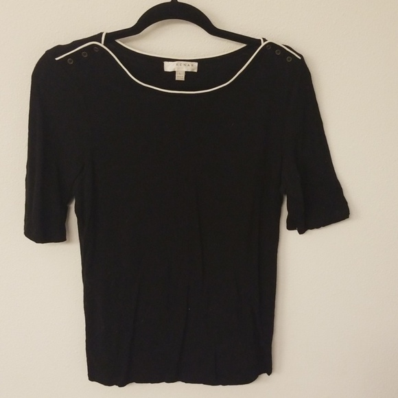 Kenar Tops - Black shirt with white trim